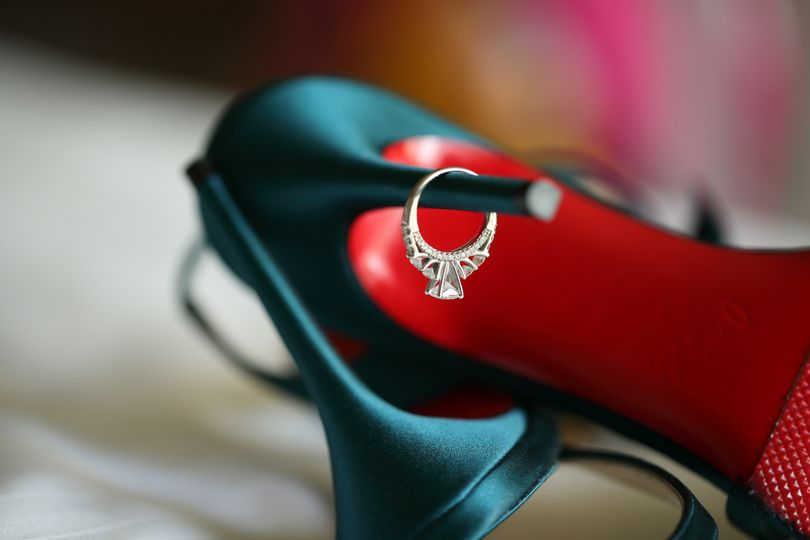 Wedding ring on the heel