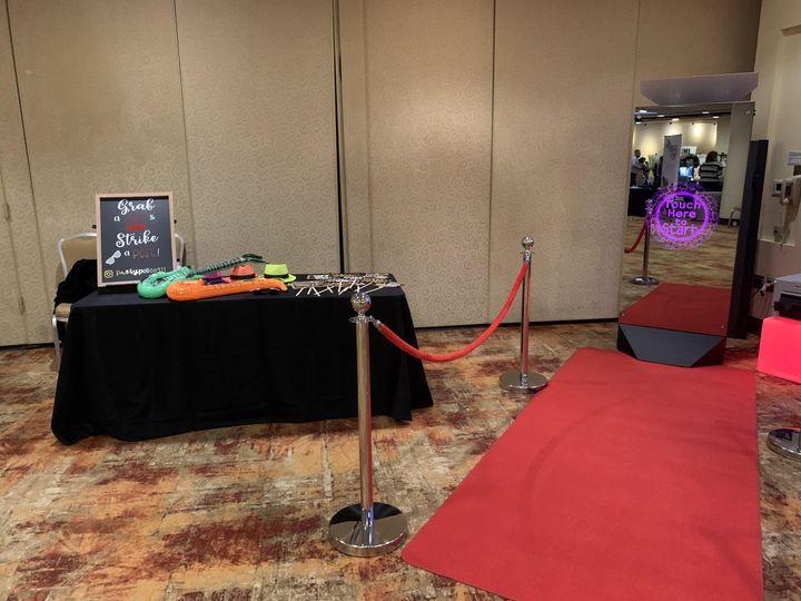 A setup with a red carpet