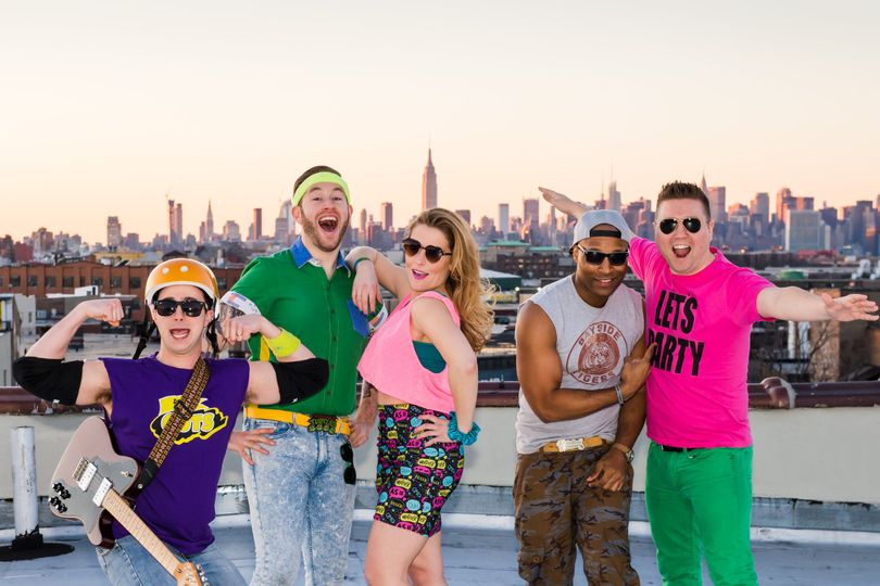 Rooftop shot in 90s outfits