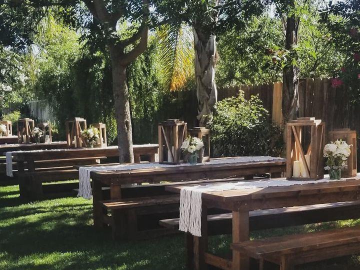 Tmx Farmhouse Tables Lanterns Benches Runners 51 1072149 1567566188 Hilmar, CA wedding rental