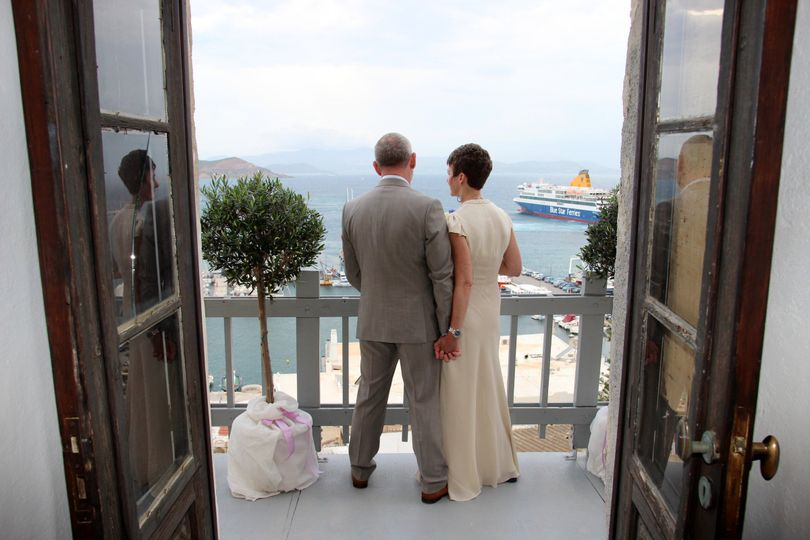 An elegant civil wedding in the ancient Venetian Castle in the Old Town of Naxos, Greece. Organized,...