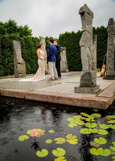 Wedding by a pond