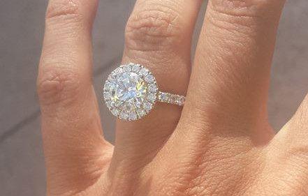 14 Karat White Gold Halo Diamond Engagement Ring