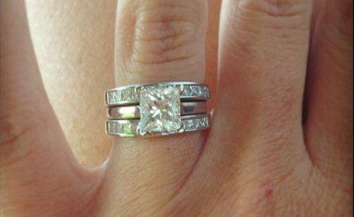 14 Karat White Gold Princess Cut Custom Diamond Engagement Ring with matching Wedding Bands