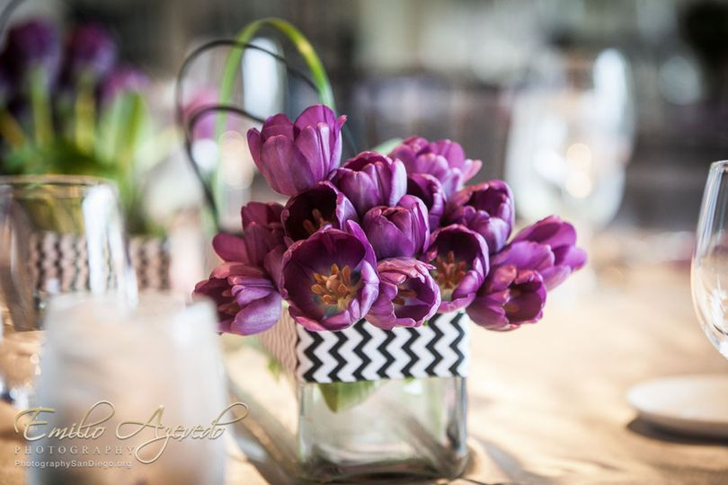 800x800 1376438984385 daras purple tulip abd black and white chevron low centerpieces