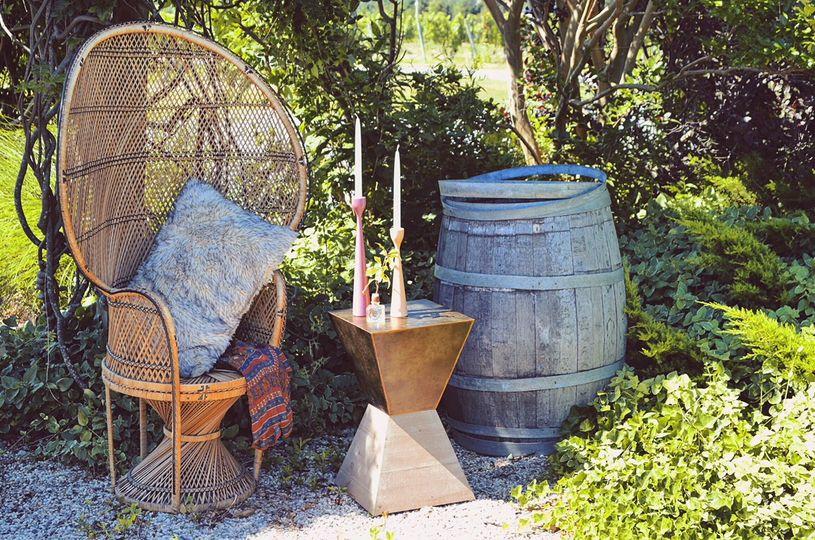 Roanoke peacock chair + table
