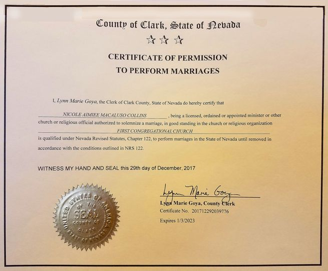 My Clark County certificate to officiate