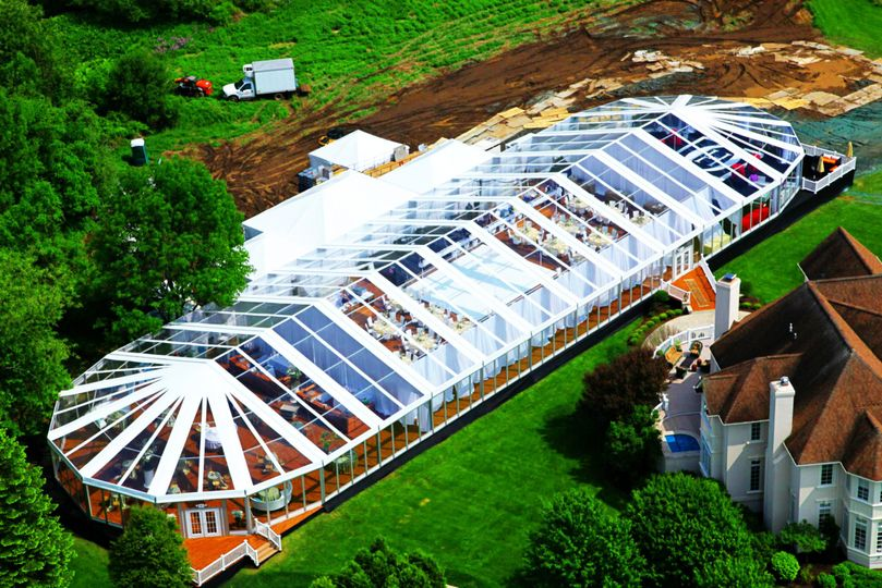 Aerial view of the reception venue