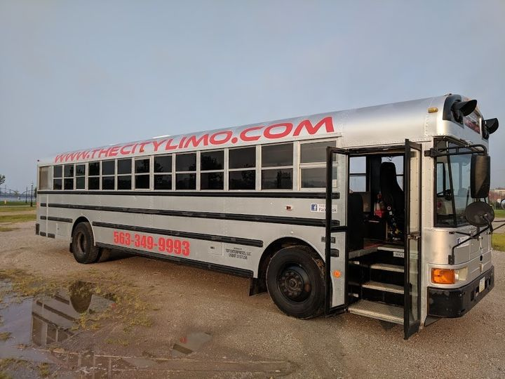 Silver Limo Bus