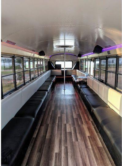 Silver Limo Bus Interior