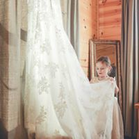 Flower girl and wedding dress