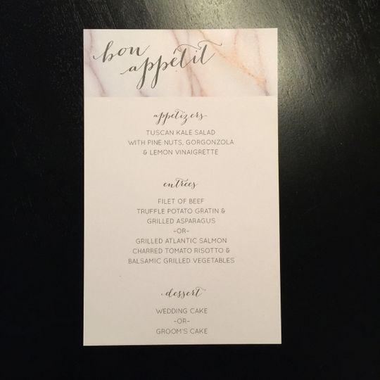Modern, marble menu design
