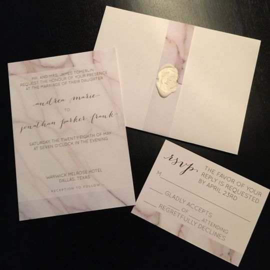 Modern, marble wedding invitation suite with wax seal