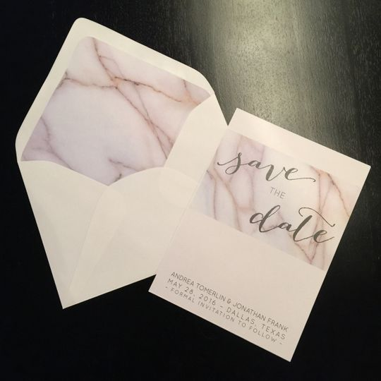 Modern, marble save the date