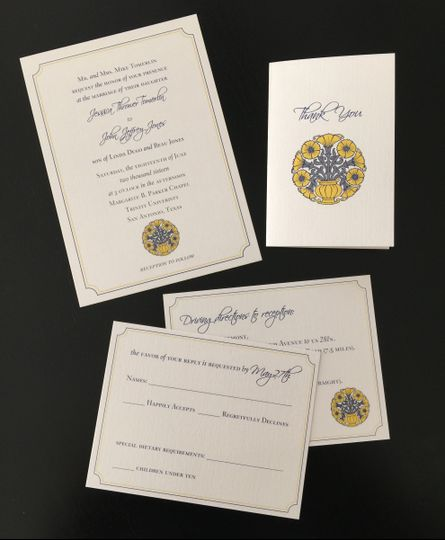 Traditional sunflower and navy blue wedding invitation suite with custom illustration
