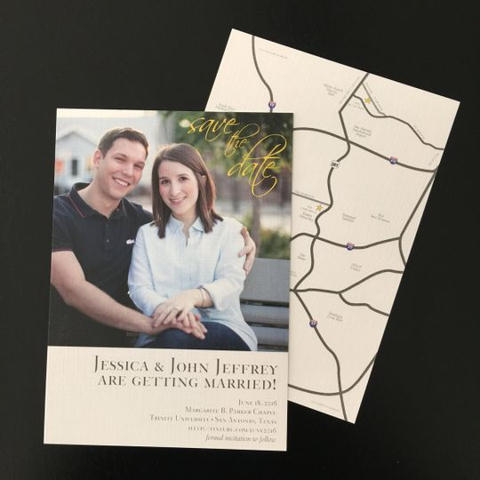 Traditional, photo-based save the date with a map on the reverse side