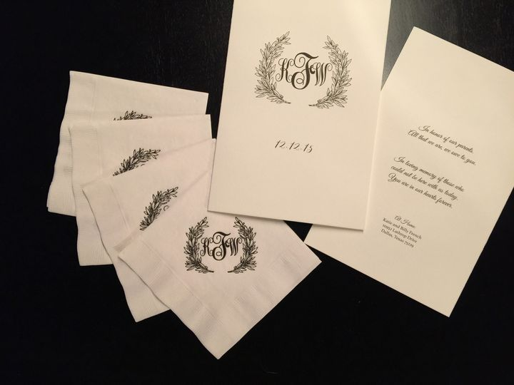 Formal wedding program and cocktail napkins with custom illustrated monogram