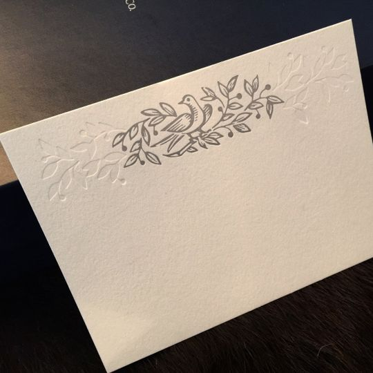 Custom illustrated letterpress + blind emboss personal stationery