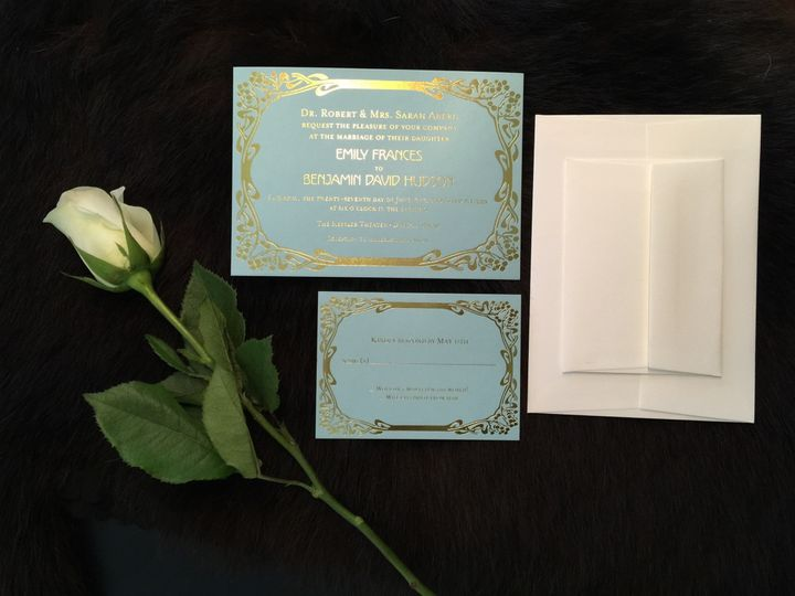 Gold foil, custom illustrated wedding invitation suite (not pictured: thank you notes)