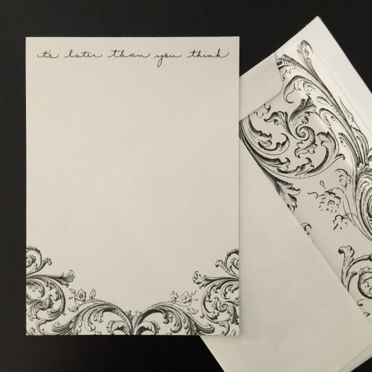 Custom illustrated personal stationery with envelope liners