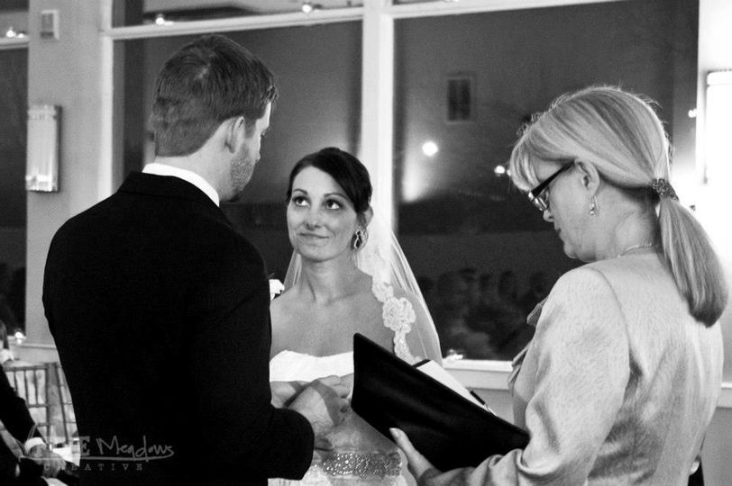Bride looking at her groom