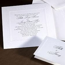 Clean and classic are always in style.  This beautiful square, white invitation from our TRU album...