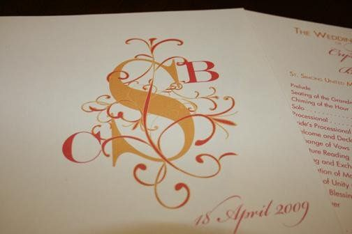 Floral Monogram Wedding Progam