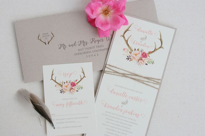 rustic wedding antler invitation 9 tiger lily inv