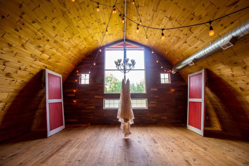 Vaulted wooden ceiling with hanging lights