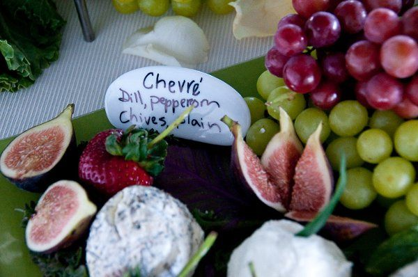 Cheese Table with fresh Figs, Chevre, and red & green grapes