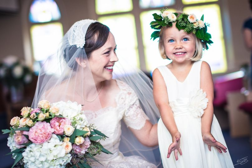 Bride + flower girl