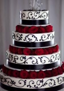 4 tier black ribbon cake