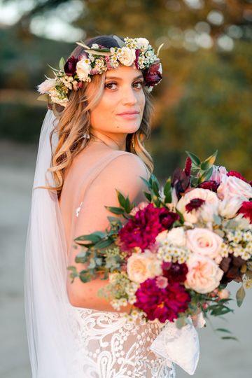 Burgundy and blush bridal