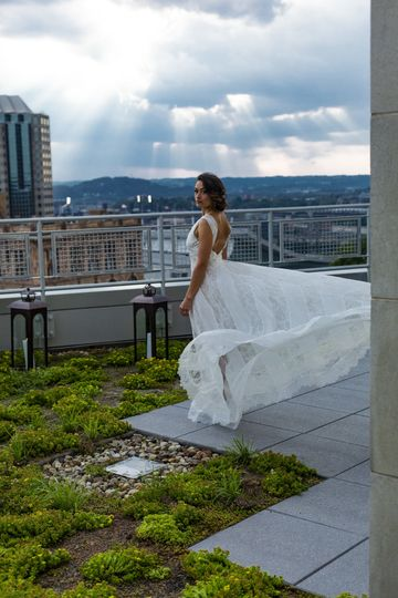 Bride at the rooftop