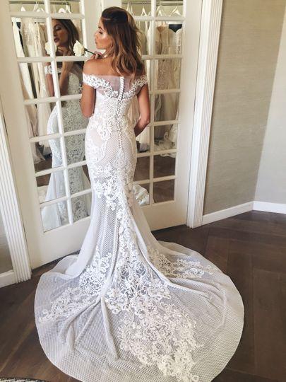 pallas couture romantic lace off the shoulder brid