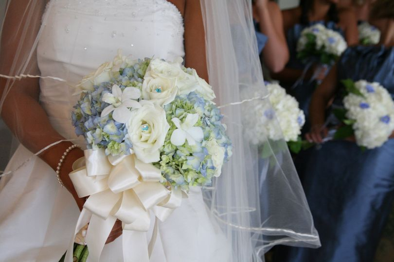 hydrangea rose and orchid bouquet