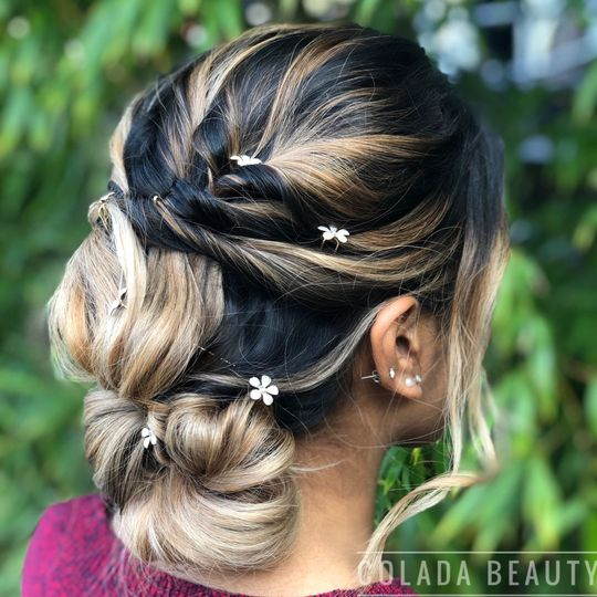 An updo with floral details