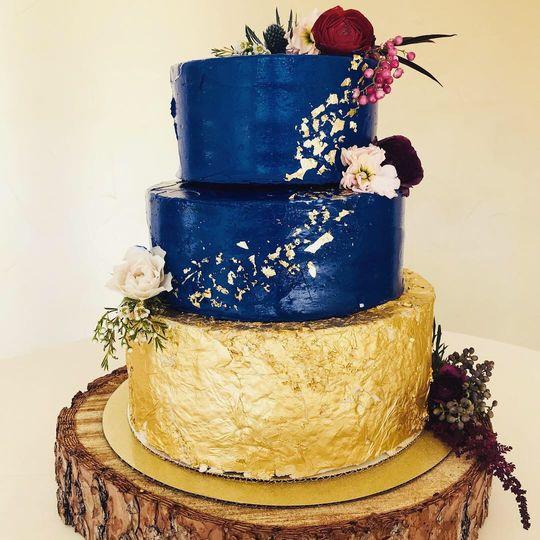 Gold Leaf & Royal Blue Cake
