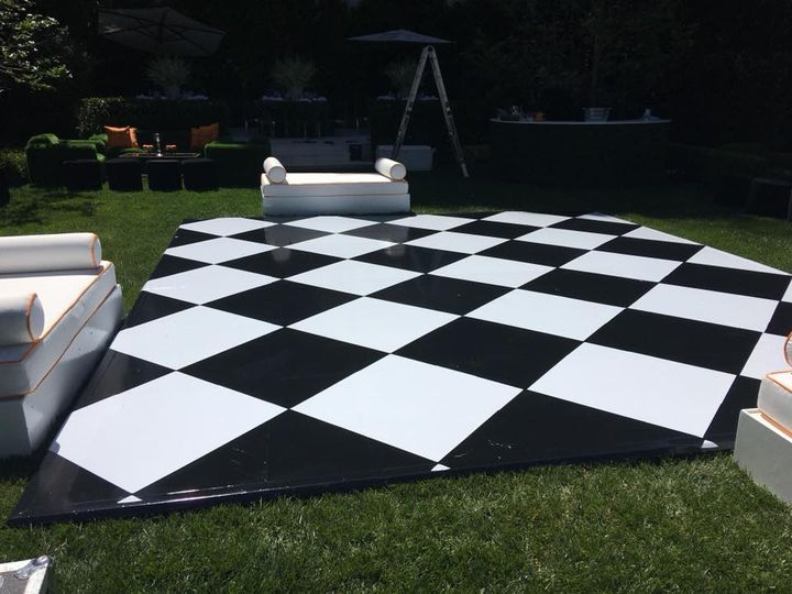 Black-and-white checkered dance floor