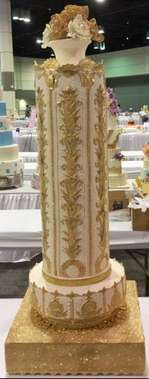 This cake  was made for the wedding cakes competition at the Cake and Sugarcraft Fair in Orlando,...