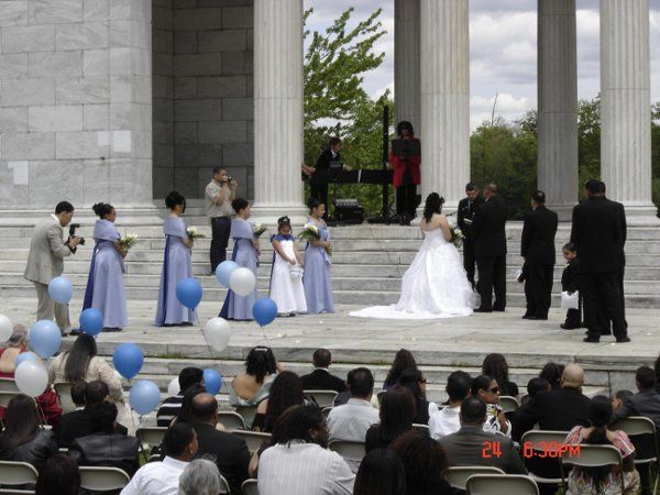 This wedding took place at the Temple of Music at Roger Williams Park.