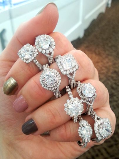 Halo engagement rings from Verragio.