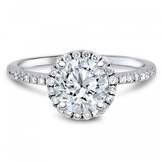 Classic halo engagement ring.