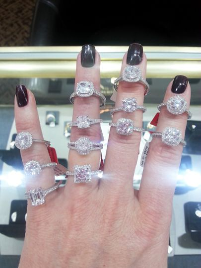 A. Jaffe Quilted collection engagement rings.