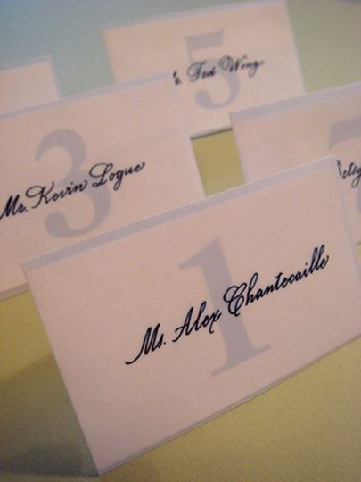 Calligraphy seating card in vellum envelope