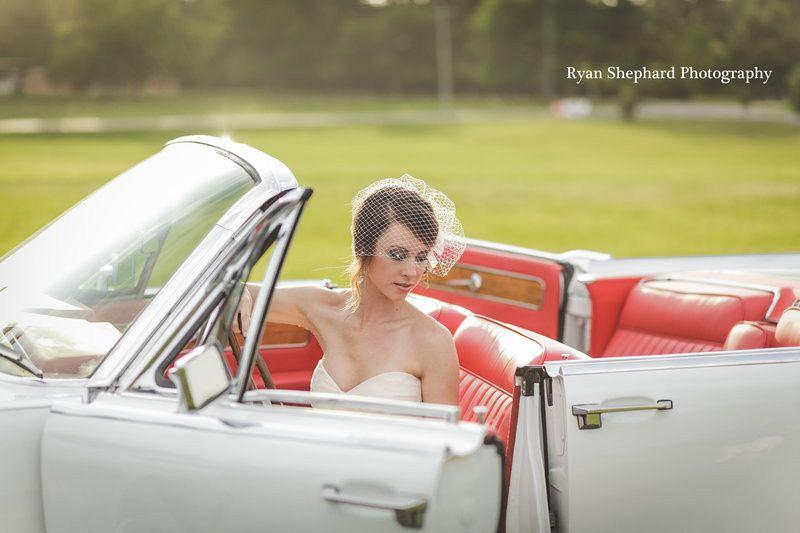 Bride riding the car
