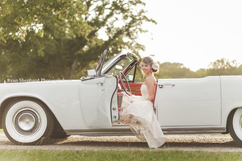 Bride loving the car