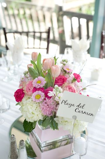 Simply perfect for spring: a mix of whites and pinks for the table.