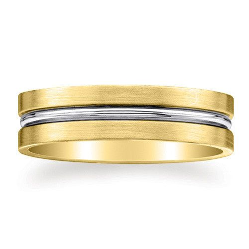 6mm wide 14K solid white and yellow Gold comfort-fit design wedding ring with brushed surface and...