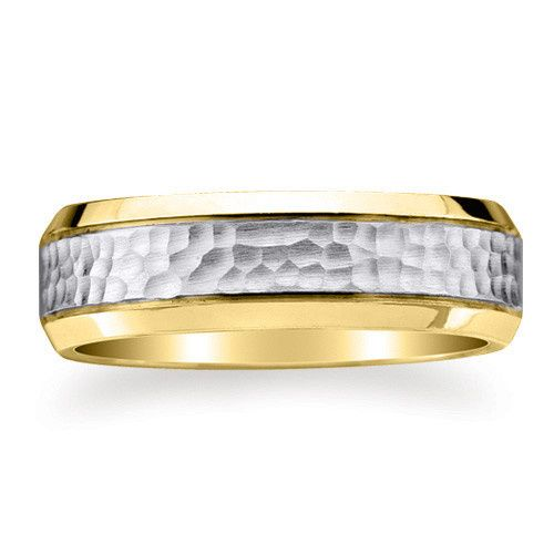 7mm wide 14K solid white and yellow Gold comfort-fit design wedding ring with hammered surface and...
